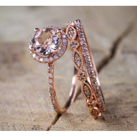 2 carat Antique Milgrain Round Morganite and Diamond Trio Ring Set in 10k Rose Gold with One Halo Engagement Ring and 2 Wedding Bands ()
