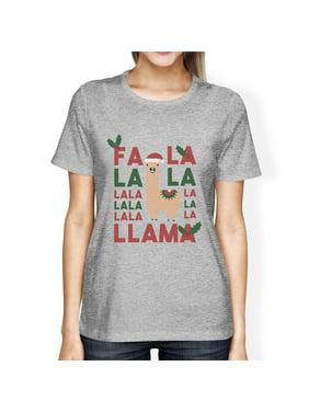 Falala Llama Womens Grey Cute Design Christmas Tee Round Neck