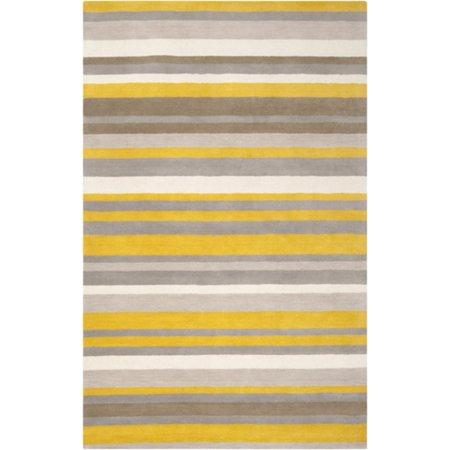 5' x 7.5' Diametric Stripes Yellow and Gray Hand Loomed Plush Wool Area - Plush Wool Area Rugs