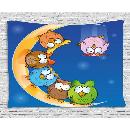 Moon Tapestry, Cartoon Owls Playing on the Moon Stars in the Background Colorful Drawing Style Print, Wall Hanging for Bedroom Living Room Dorm Decor, 60W X 40L Inches, Multicolor, by Ambesonne