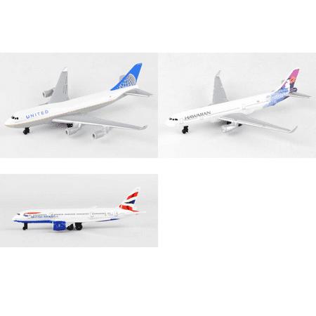United  Hawaiian  British Airways Airlines Diecast Airplane Package   Three 5 5   Diecast Model Planes