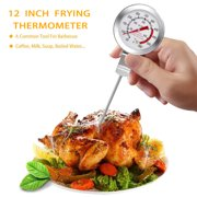 "BOHK 12"" Barbecue Deep Fry Thermometer With Clip Instant Read, Dial Thermometer, Extra Long Stainless Steel Probe Food Cooking Thermometer, Best for Turkey Frying BBQ Grill Pot Pan Kettle"