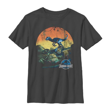 Jurassic World Boys' Retro Dinosaur Sunset T-Shirt - Boys Retro