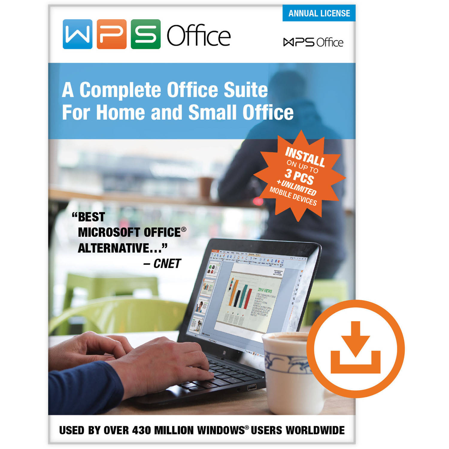 WPS Office: Annual Subscription (3 PCs/Unlimited Mobile Installs) (Digital Code)