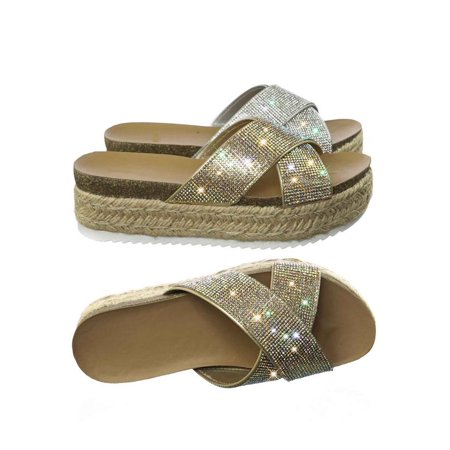 Delta Swimsuit - Delta by Soda, Rhinestone Crystal Slipper Sandal w Espadrille, Cork Footbed & Shark tooth