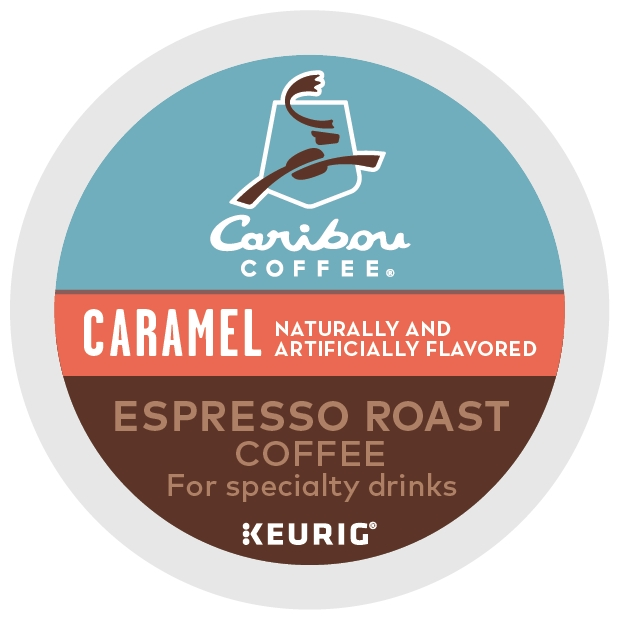 (2 Pack) Caribou Coffee Caramel Espresso Roast, Flavored Keurig K-Cup Coffee Pods, Espresso Roast, 6 Count
