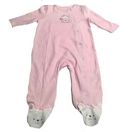 Little Me Baby Girls Sleeper with Footies, 9M, Pink 2 Girls 1 Bath