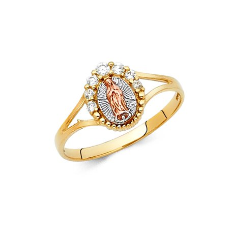 Virgen Of Guadalupe Religious Oval Shape Prong Set CZ 10mm 14k Tri Tone Italian Solid Gold Ring Size 6 Available All - Shape Prong Set
