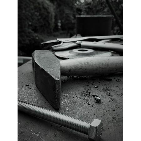 Canvas Print Screw Workshop Metal Hammer Steel Tool Work Bench Stretched Canvas 10 x 14
