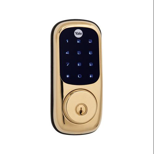 YALE SECURITY INC. Electronic Deadbolt Lock, Touch Screen Keypad, Polished Brass