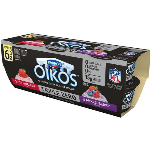 Dannon Oikos Triple Zero Strawberry/Mixed Berry Greek Nonfat Yogurt, 5.3 oz, 6 count