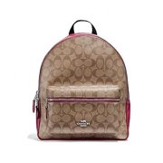 NEW WOMENS COACH (F32200) SIGNATURE KHAKI CERISE PINK MEDIUM CHARLIE BACKPACK
