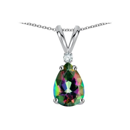 Star K Pear Shape 8x6 mm Rainbow Mystic Topaz Rabbit Ear Pendant Necklace