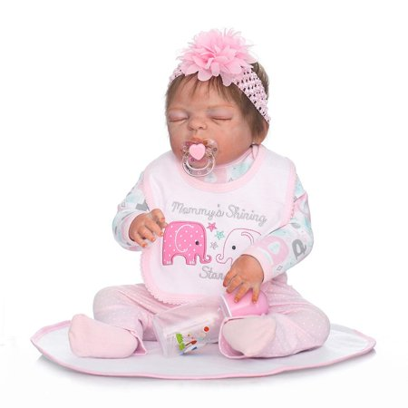Ktaxon Reborn Baby Doll Soft Silicone vinyl 22inch Lovely Lifelike Cute Baby Boy Girl Toy Pink sleeping baby doll cute girl