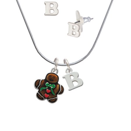 (Gingerbread Boy with Bow - B Initial Charm Necklace and Stud Earrings Jewelry Set)