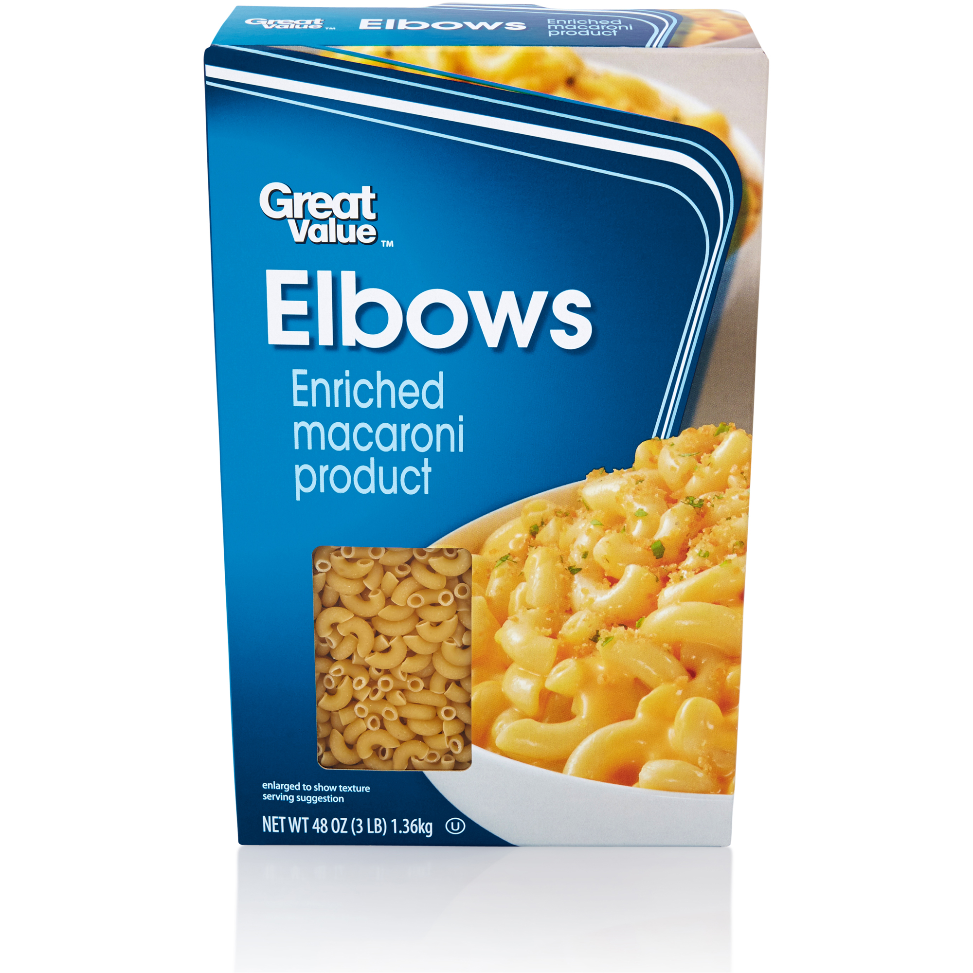 Great Value: Elbow Macaroni Enriched Macaroni Product, 3 Lb