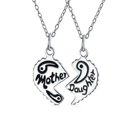 Bff Split Heart Break Apart Puzzle Gift Engrave Word Mother Daughter Pendant Necklace For Mom 925 Sterling Silver](Break Apart Necklace)