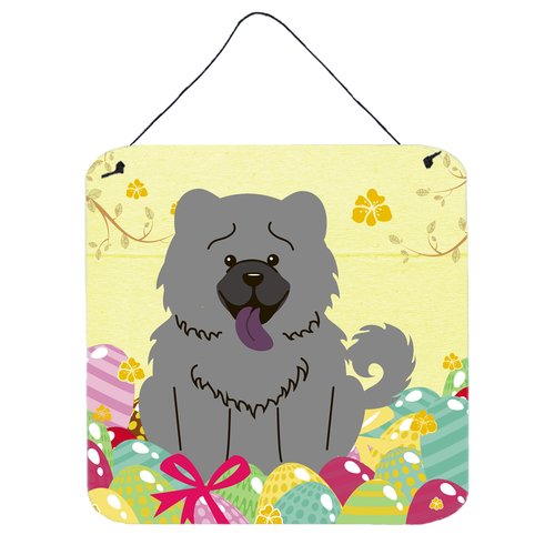 The Holiday Aisle Easter Eggs Gray Chow Chow Aluminum Wall D cor