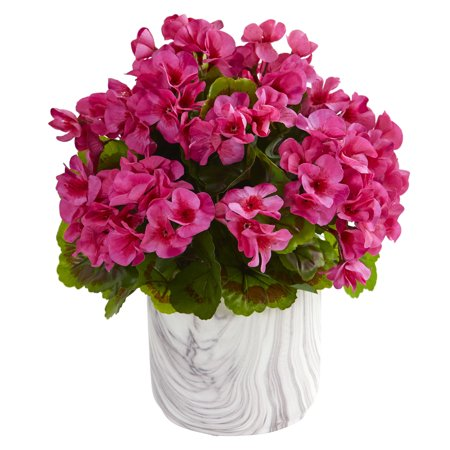 Nearly Natural Geranium Artificial Plant in Marble Finished Vase UV Resistant (Indoor/Outdoor) ()