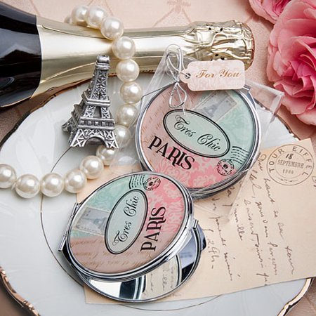 Pretty Paris-themed mirror compact (Compact Mirror Wedding Shower Favors)