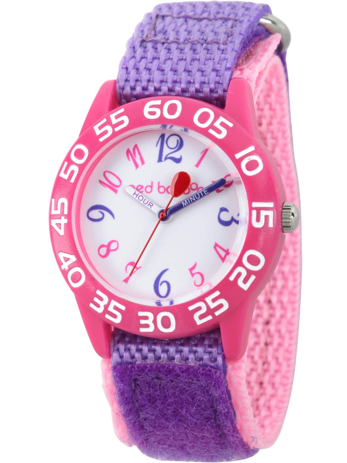 Girls' Pink Plastic Time Teacher Watch, Purple Hook and Loop Nylon Strap with Pink Backing