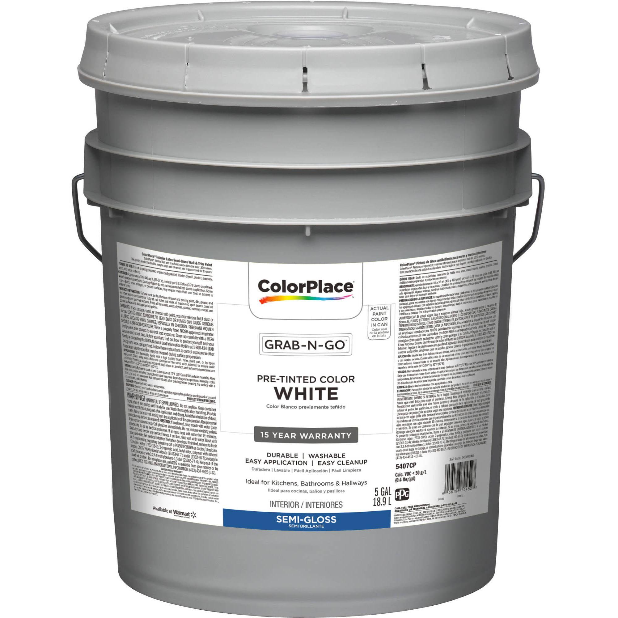Colorplace Grab N Go White Semi Gloss Interior Paint 5 Gallon