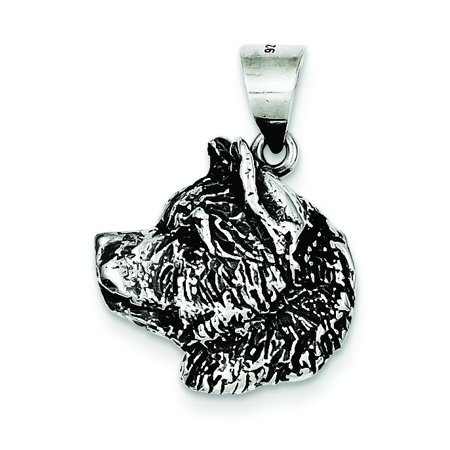 Sterling Silver Antiqued Husky Pendant Charm Jewelry