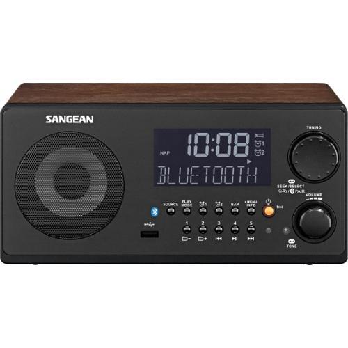 Sangean WR-22 Clock Radio - 7 W RMS - 2 x Alarm - FM, MW - USB