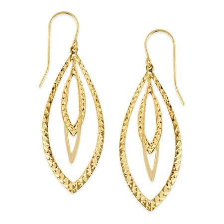 14k Gold Yellow Diamond-cut Triple Marquise Drop Shape Earrings
