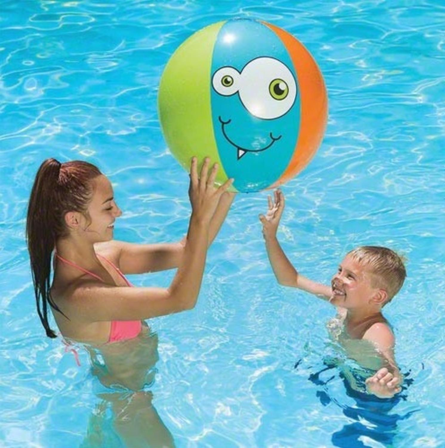 "24"" Blue, Orange and Green Monster-Theme 6-Panel Inflatable Beach Play Ball Swimming Pool Toy by Swim Central"