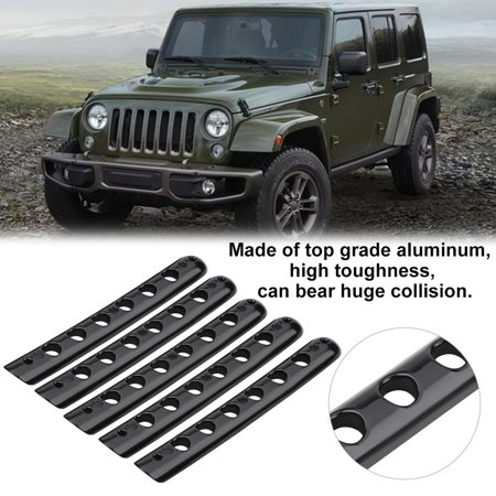 Hilitand 5pcs Aluminum Door Grab Handle Tailgate Bar Trim Insert Cover for Jeep Wrangler JK Unlimited, Door Handle Bar Cover, Door Handle Trim ()