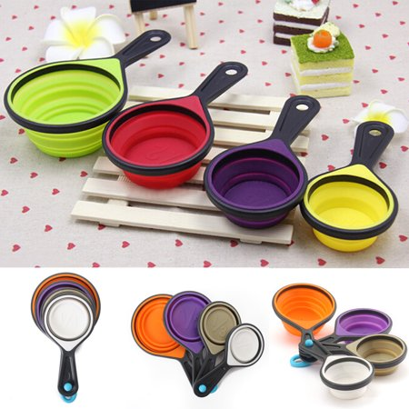 4Pcs Silicone Measuring Cups Set Spoon Kitchen Tool Collapsible Baking Cook New ()