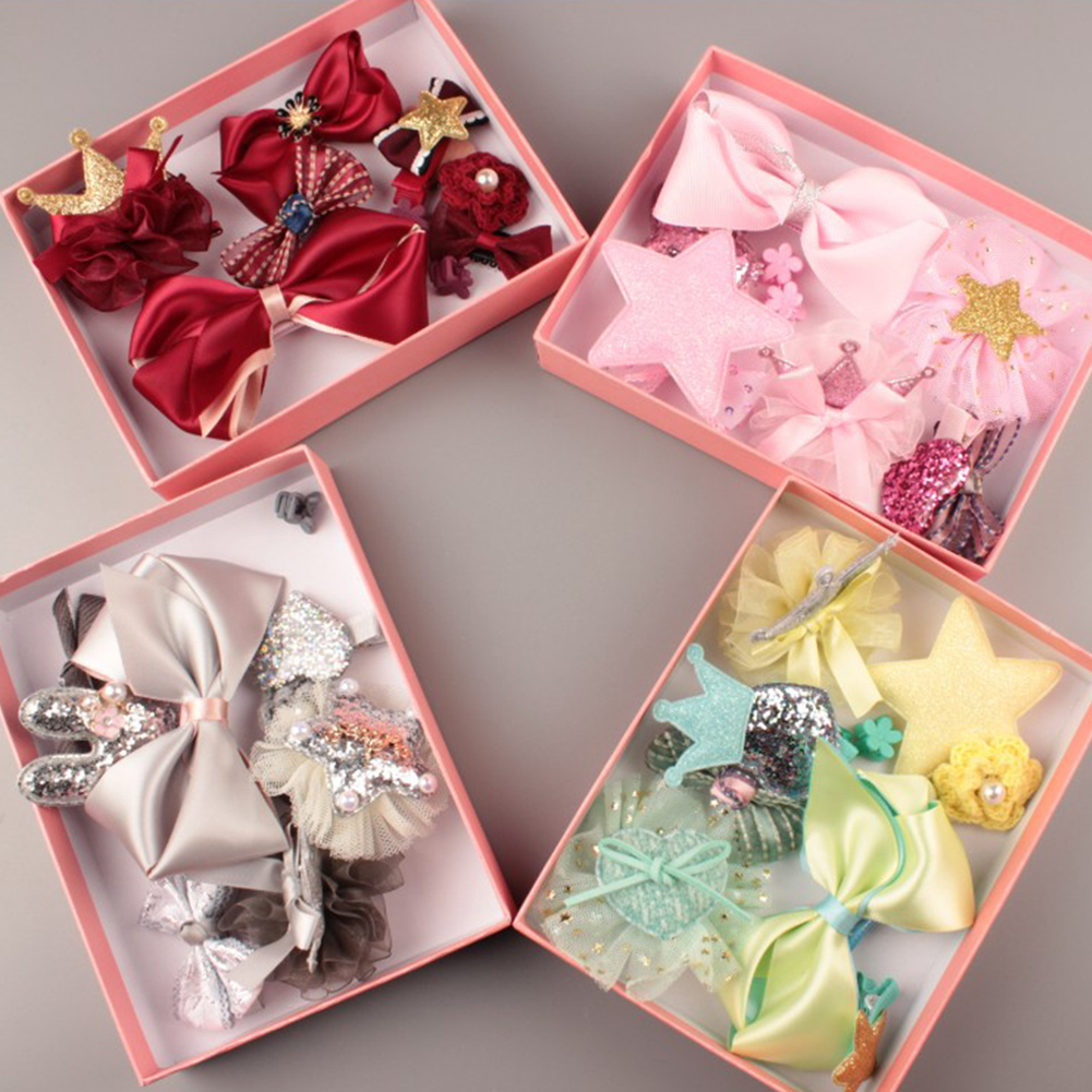 HiCoup 10 Pcs Girl Bow Hairpin Ribbon Bowknot Flower Multi-Style Hair Clip Xmas Gift