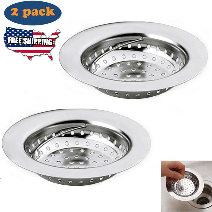 2pc Kitchen Sink Strainer Drainer Premium Stainless Steel Waste Plug Replacement