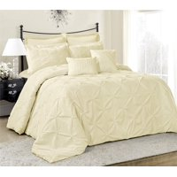 HIG 8 Piece Comforter Set Cal.King-White Elastic Embroidery-Lucilla Bed In A Bag Cal.King Size- Soft, Hypoallergenic,Fade Resistant-1 Comforter,2 Shams,2 Euro Shams,2 Decorative Pillows,1 Bedskirt
