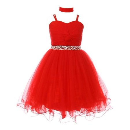 Girls Red Rhinestone Beaded Wired Tulle Mesh Junior Bridesmaid Dress 8-16 for $<!---->