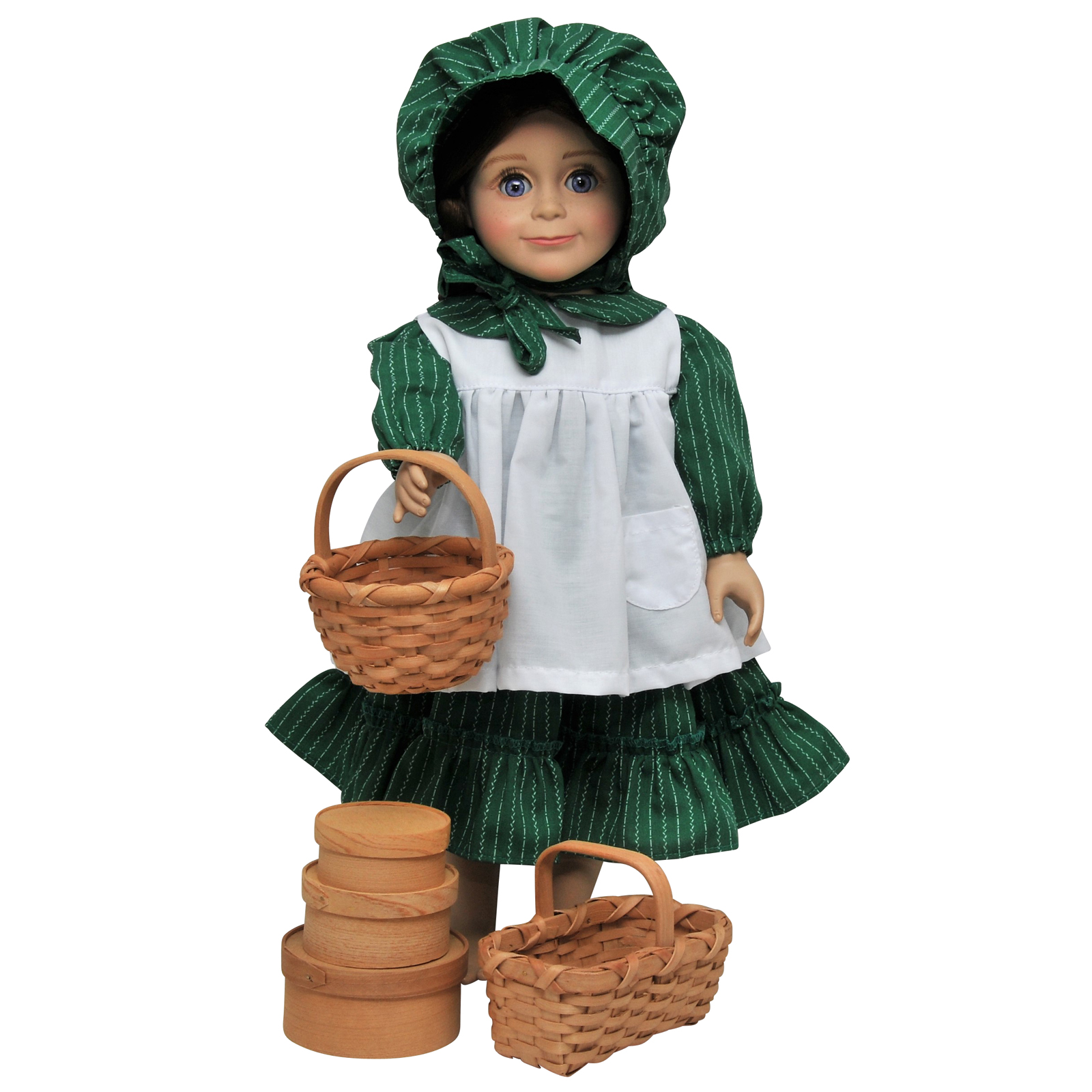 """Little House on The Prairie 18"""" Doll Accessories - 3 Shaker Boxes, Round & Rectangle Baskets"""