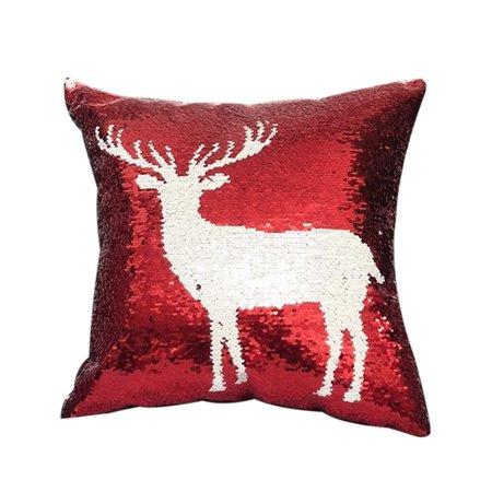 Christmas Themes Magic Reversible Sequins Glitter Pillowcase Car Sofa Cushion Covers Square Throw Pillow Case Sofa Home Decor (Car Themed Decor)