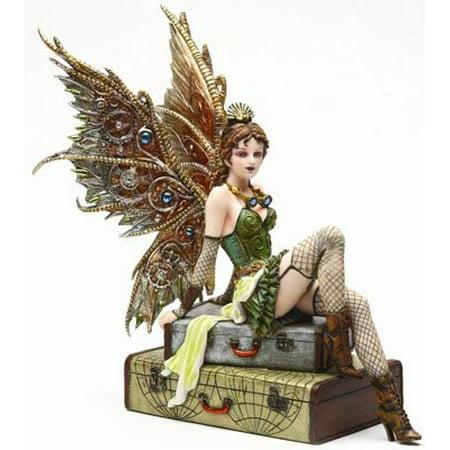 9.38 Inch Steampunk Fairy Sitting on Vintage Luggage Statue Figurine ()