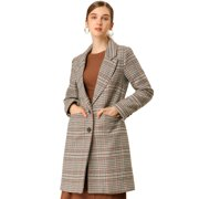 Women's Classic Buttoned Plaid Houndstooth Long Coat M Brown
