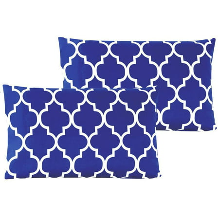 - Mellanni Luxury Pillowcase Set - Brushed Microfiber Printed Bedding - Wrinkle, Fade, Stain Resistant - Hypoallergenic (Set of 2 King Size, Quatrefoil Imperial Blue)