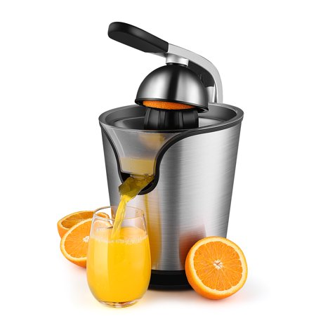 Hand Press Electric Citrus Orange Juicer Squeezer Machine - Motorized Pulp Control 160 Watt Juice Maker Extractor - Ergonomic Design Stainless Steel Stand with Rubber Handle and Cone Lid (Juice Maker Braun)