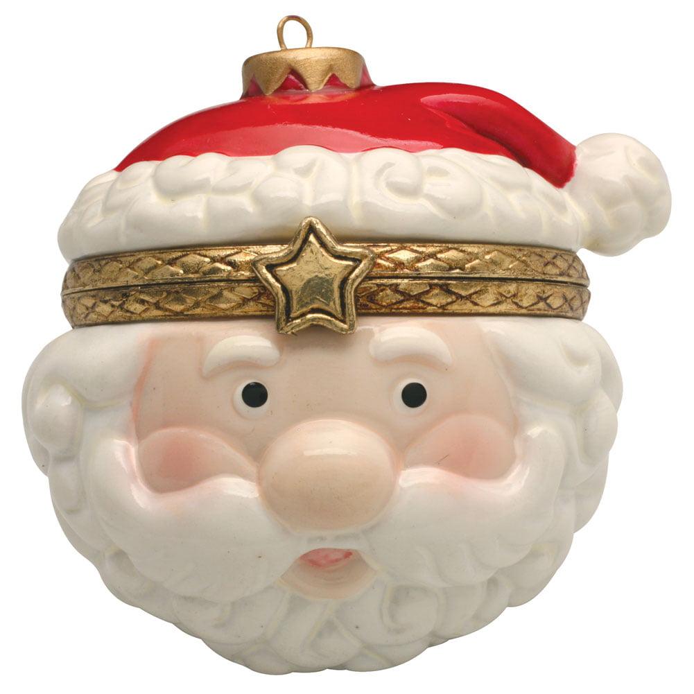 Porcelain Christmas Tree Hinged Ornament Box - Jolly Santa ...