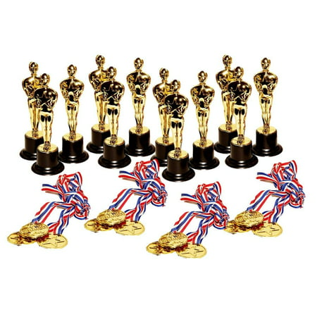 dazzling toys Set of 12 Golden Plastic Award Figure Trophies and 12 Medal Necklaces (Toy Trophies)