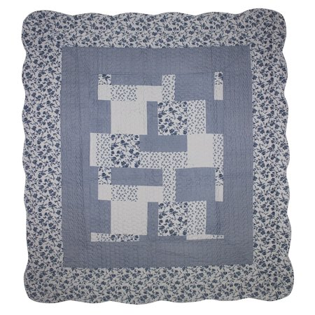 Patch Magic Periwinkle Dash Throw Lap Quilt
