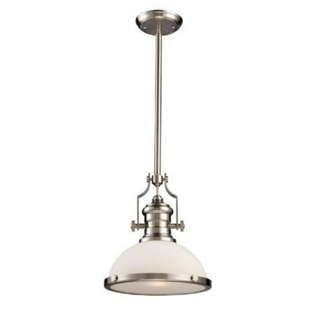 Landmark Pendants Landmark Lighting - Landmark 66123-1 Chadwick 1-Light 14-Inch Pendant, Satin Nickel with Frosted Glass