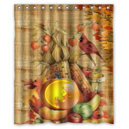 GreenDecor Happy Thanksgiving Day Harvest Festival Waterproof Shower Curtain Set with Hooks Bathroom Accessories Size 60x72 inches](Festival Accessories)