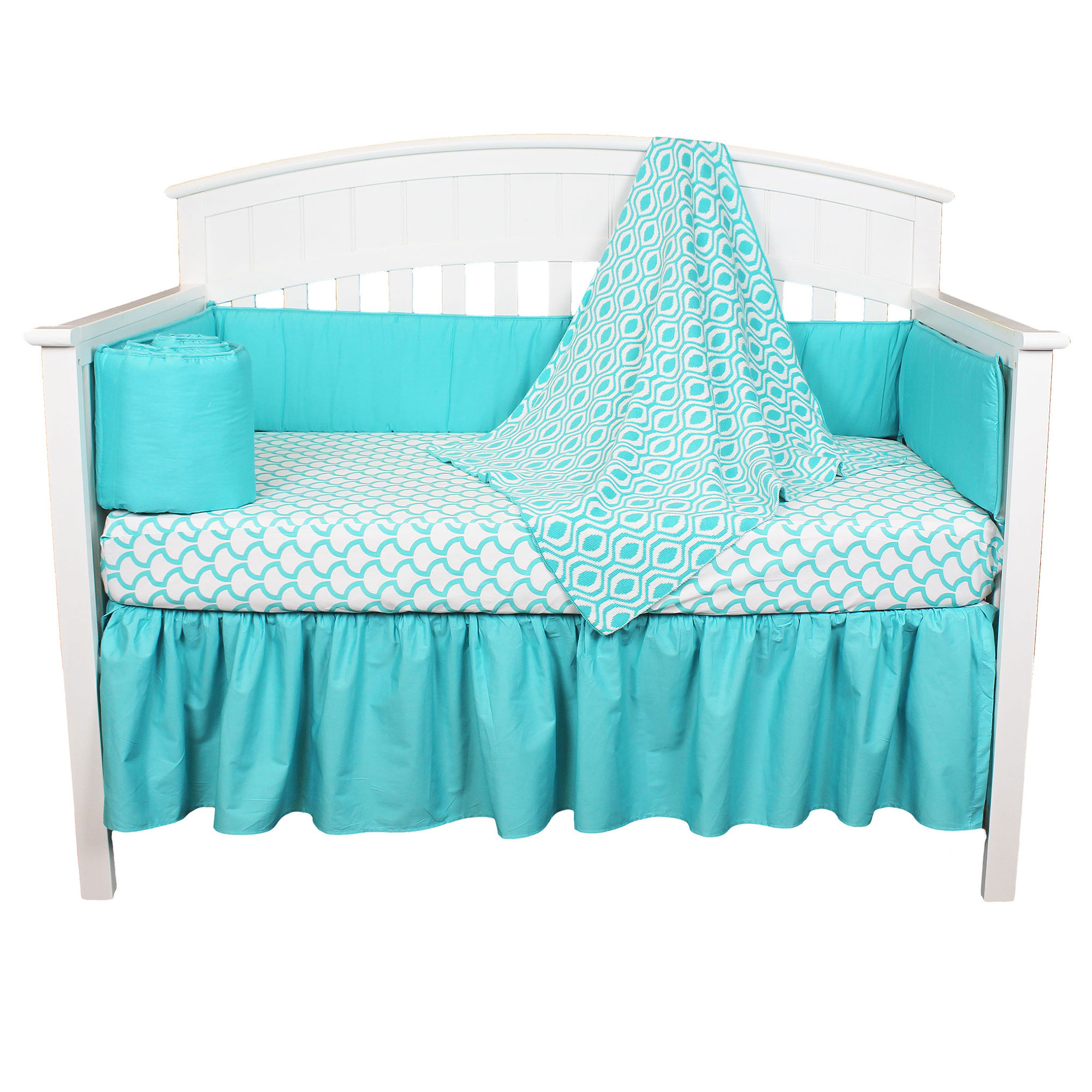 American Baby Company Crib Bedding Set - Turquoise Ogee Design, 100% Cotton - 4 Piece Baby Crib Bedding Set with Bumper