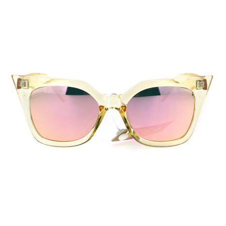 c3b8895cccc SA106 - Womens Color Mirror Retro Oversize Gothic Cat Eye Chic Sunglasses  Beige Clear Pink - Walmart.com