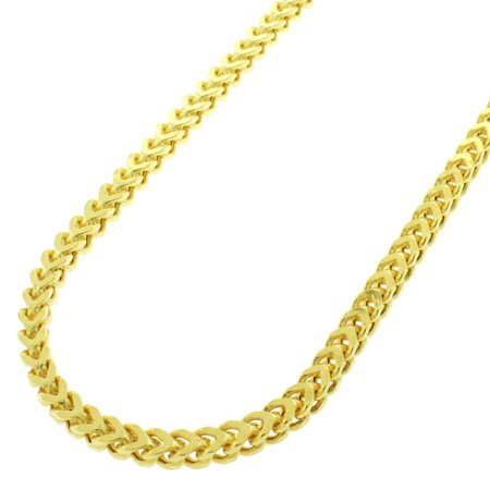 Gold Mens Franco Chain (.925 Sterling Silver 3mm Hollow Franco Yellow Gold Plated Chain Necklace 22